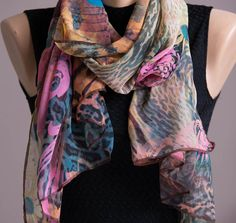 Floral Summer Scarf,Spring Scarf,Infinity Scarf,Chiffon Scarf,Lightweight,Scarves For Women,Fashion Accessories,Womens Scarves,Gift For Her