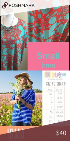 LuLaRoe Irma Size S Nwt We have tons more to list. helping a friend liquidate her inventory. So let us know what your looking for and we will see what we have in your size. She is open to offers as well. Jewelry is Park Lane! We can get those items too! Create a bundle for you. LuLaRoe Tops