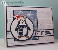 by Amy: Snow Place, Season of Cheer dsp, Snow Friends framelits, Brick Wall embossing folder - all from Stampin' Up!