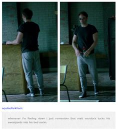 matt murdock/daredevil text post. Probably so he doesn't trip over... Just sayin