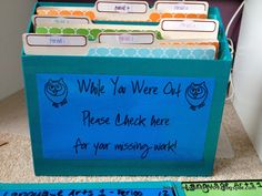 Great way to keep up with missing assignments! It also makes the student responsible for making their work up as it is in an accessible place and the teacher does not have to refer back to the lesson plans to pull the assignments.