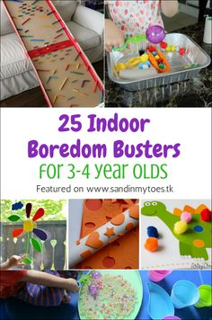 Indoor Boredom Busters for Year Olds 25 great ideas for fun activities indoors that year olds will love. Check them great ideas for fun activities indoors that year olds will love. Check them out! 4 Year Old Activities, Indoor Activities For Kids, Infant Activities, Preschool Activities, Children Activities, Quiet Toddler Activities, 3 Year Old Preschool, Toddler Play, Toddler Learning