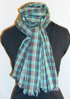 Teal Green and Gray Plaid Scarf Handmade Scarf Cotton by jennipink, $25.00