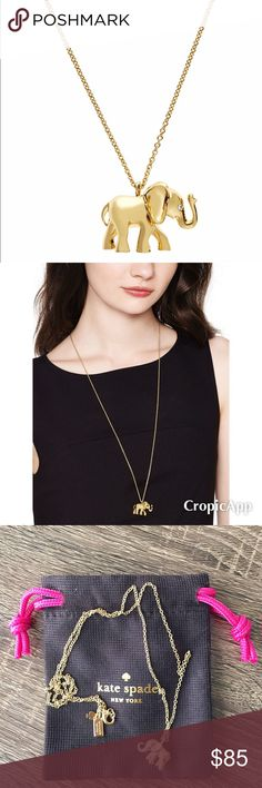 Kate Spade Golden Lucky Elephant Pendant Necklace Adorable lucky golden elephant pendant necklace from kate spade. NWOT! This was an online exclusive for early 2016. Feeling lucky? Elephants are considered a symbol of good fortune in many cultures, and while we cant quite guarantee that our golden elephant collection will change your fate, were pretty sure that these sparkly pieces will improve your outlook and your outfit! 12k gold plated with glass crystals. Lobster claw closure. Total…