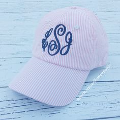 Monogrammed Seersucker Hat: Baseball Cap | Personalized From Me To You