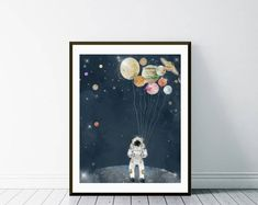 the solar collector.astronaut wall art.solar system print.solar system poster.solar system art.space posters.nursery solar system print.