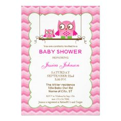 Mom and Baby Owls Girl Baby Shower Invitation
