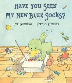 It's hard to resist, especially when the cartoon illustrations are so captivating in their absurdity. Duck's expression is all in the eyebrows-such angst over a pair of socks has never been conveyed so well. Blues, teals, and greens are the background for the child-friendly, details Ruzzier has planted in the illustrations, including underwear, dog bones, and a painting ox. An accessible vocabulary and easy to sound out words make this a perfect book for the newest reader.