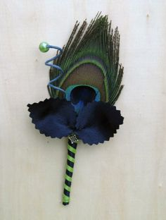 ROYAL MAJESTIC  PEACOCK Boutonniere  Choose your by ericacavanagh, $12.00