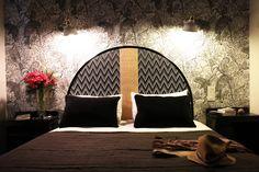 Medicis rattan headboard in multi-chevron weaving black and white at Etche Ona hotel, Pyla, France