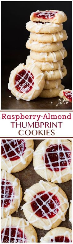 Raspberry Almond Shortbread Thumbprint Cookies - these are one of my FAVORITE cookies! #recipe #cookie