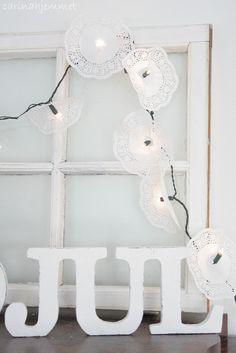 cute doily-DIY fairy lights <3