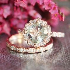 Rose Gold Green Amethyst Diamond Engagement Ring and Scalloped