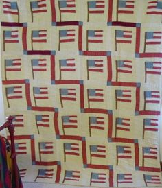 full view of American circa Flag Quilt American Flag Quilt, Different Shades Of Red, Patriotic Quilts, Camping Blanket, Blue Quilts, Antique Quilts, Hand Quilting, Quilt Top, Needlework