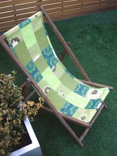 Lime Deckchair. Harlands Organic Furnishing donated the fabrics. I combined them with vintage frame. 100% up-cycled item! Just one is a Harmony Art organic fabric. Can you pick it out?