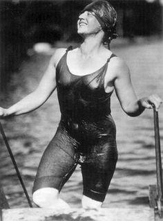 """""""Ellen Koeniger, Lake George, Woman in wet swimwear. Photo by Alfred Stieglitz."""