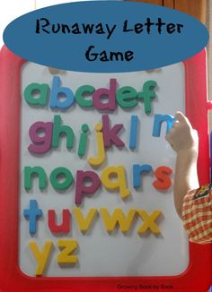 Alphabet games fill our days. This fun Runaway Letter game helps kids identify the letters of the alphabet, learn letter sounds in a kinesthetic activity. Preschool Literacy, Preschool Letters, Alphabet Activities, Language Activities, Early Literacy, Learning Games, Literacy Activities, Alphabet Letters, Magnetic Letters