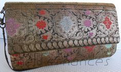 Carteira nellfernandes em galão antigo de seda indiana bordada .
