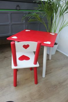 Girls table and chair set hand painted by A Lick of Magic Annie Sloan CP Emperor's Silk and Original