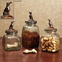 Doggy Treats Pet Treat Glass Canister Set