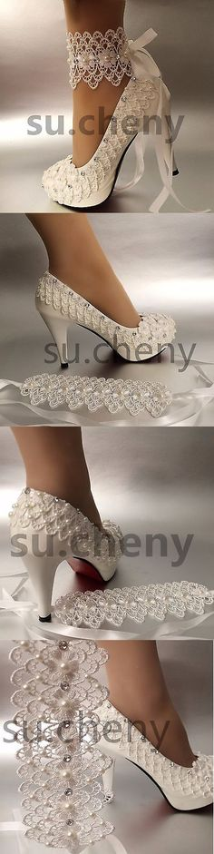 Wedding Shoes And Bridal Shoes: 3 4 Heel White Ivory Lace Ribbon Ankle Pearls Wedding Shoes Bride Size 5-11 -> BUY IT NOW ONLY: $39.99 on eBay!