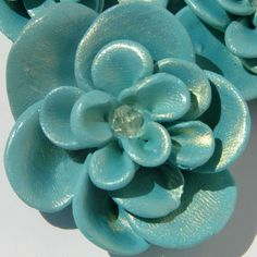 SALE Handmade Teal Fimo Flowers by JadedHopeChest on Etsy, $4.50