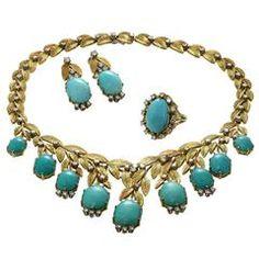 1960 Turquoise Diamond zlatý náhrdelník náušnice a prsten Suite