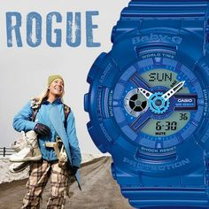 Baby-G Tough and water resistant ladies analog and digital watches. Baby G, Sporty Style, Rogues, Snowboarding, Casio, Watch, Winter, Blue, Beautiful