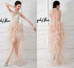 Wholesale Bridal Sashes - Buy 2014 Ruffles Sheer Prom Dresses See-through High-neck Champagne High-low Bling Bling Crystals Backless Women Formal Evening Homecoming New, $109.65   DHgate.com