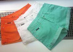orange white green shorts