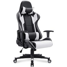 Homall Gaming Chair Office Chair High Back Computer Chair PU Leather Desk Chair PC Racing Executive Ergonomic Adjustable Swivel Task Chair with Headrest and Lumbar Support (White) Chaise Gaming, Office Gaming Chair, High Back Office Chair, Executive Office Chairs, Desk Office, Gaming Setup, Best Computer Chairs, Computer Desk Chair, Pc Computer