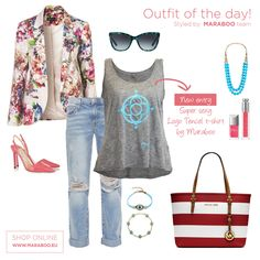Maraboo by D.Gean selects for the daily outfit pale jeans with tears combined with the new grey Tencel t-shirt with the blue logo. Coral Heels, Floral Blazer, Ripped Jeans, Casual Chic, Outfit Of The Day, What To Wear, Women's Fashion, Grey, T Shirt
