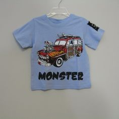 Monster Republic Blue Car Tee : Designer Classic Clothes Fashions Unique Toys Accessories Cute Pretty Baby Boy Girl Boutique
