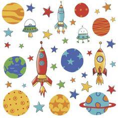 Muursticker Raketten en Planeten RoomMates
