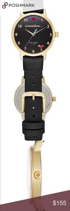 """NWT Kate Spade It's 5 o'clock somewhere watch Set your look apart from the rest with this chic watch from kate spade new york. Black leather strap with polished gold-tone buckle Round case, 34mm, crystal accents at bezel Black dial with pink spade at twelve o'clock, martini at five o'clock, rose gold-tone numerals, """"somewhere..."""" under twelve o'clock, two hands, striped second hand and logo Quartz movement Water resistant to 30 meters  Original $195 kate spade Accessories Watches"""