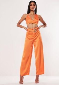 27166e82ce2 Orange Satin Bralet   Trousers Co Ord Set