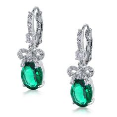 Bling Jewelry Bridal Bow Ribbon Emerald Color CZ Drop Leverback Earrings