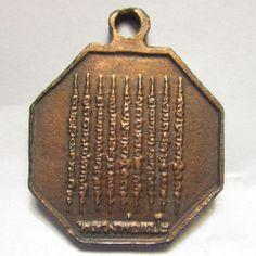 Buddhist amulet pendant Thai buddha statue holy coin - 9 row yantra Wat sawang