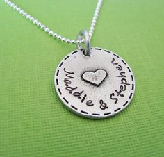 personalized raised heart necklace by juliethefish on Etsy