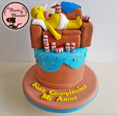 Mini torta Homero Simpson Sillón Bolo Simpsons, The Simpsons, Giant Donut, Duff Beer, Cake Decorating Frosting, Funny Cake, Rainbow Cupcakes, Cakes For Boys, The Duff