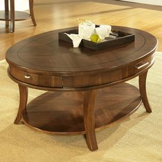 Somerton Home Furnishings Gatsby Medium Brown Walnut Oval Coffee Table Black Coffee Tables, White Side Tables, White Coffee, Coffee Table With Drawers, Sofa End Tables, Cocktail Tables, Home Furnishings, Gatsby, Medium Brown