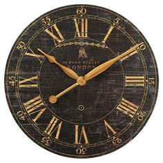 Antique-inspired wall clock with a crackle finish and Roman numeral dial.   Product: Wall clockConstruction Material: