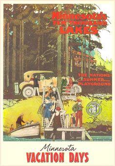 The Nation's Summer Playground--Minn.  10,000 Lakes.  Vintage.