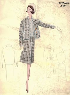 Vintage CHANEL fashion sketches from the 1950s and 1960s