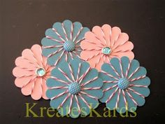 Baker's Twine Flowers made with a scalloped circle punch and a pretty brad