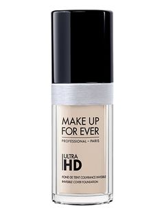 Make Up For Ever Ultra HD Liquid Foundation With a medium- to full-coverage finish, this liquid foundation completely camouflages pores, blemishes, and fine lines, and the formula is still hydrating enough that it won't feel like chalk on your face. Best of all, it comes in 40 (yup, you read that correctly) shades. Make Up For Ever Ultra HD Liquid Foundation, $43 (makeupforever.com).