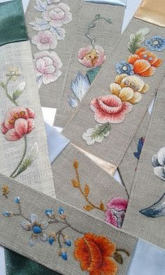 Hand Embroidery Design Hand embroidered bookmarks, Century of Flowers collection. Pure silk threads on vintage linen. Owl Embroidery, Hand Embroidery Patterns Flowers, Hand Embroidery Tutorial, Hand Work Embroidery, Learn Embroidery, Embroidery Needles, Hand Embroidery Designs, Flower Patterns, Embroidered Gifts