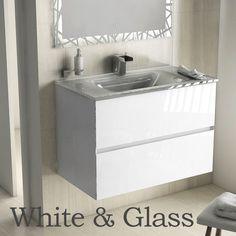 Meuble salle de bain 81 cm blanc brillant, vasque verre argent, Kyoto L
