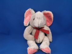 New product 'RUSS 3311 Gray Elephant JUMBLES Beanie Rose Corduroy Ears Feet' added to Dirty Butter Plush Animal Shoppe! - $10.00 - RUSS No. 3311 Plush 14 inch Gray Elephant JUMBLES - Trunk Turned Up - Rose Corduroy Ears, Hands, Feet - Black, Red Gingh…
