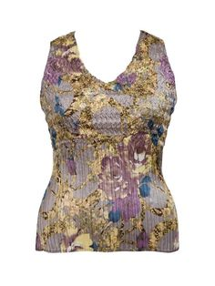 Floral Print Sateen Crush Pleat Camisole £75 - A blend of gold, haze and silver on an stretch satin base is crafted into a crush pleat, which is perfect for every occasion. This camisole combined with matching shrug to make a versatile twinset. 61 cm from shoulder neck point to hem. — at http://www.chescadirect.co.uk/products/1439-floral-print-sateen-crush-pleat-camisole-pre-order.